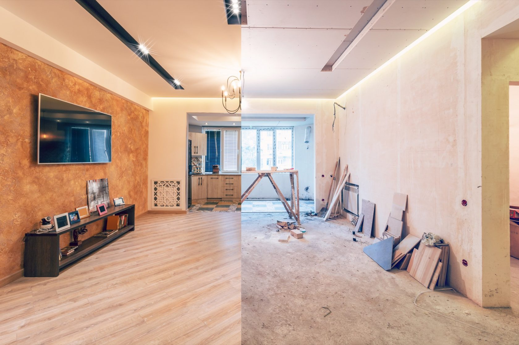 Studio before and after virtual renovation